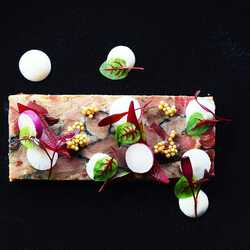 Smoked mangalitza knuckle terrine with horseradish and black radish