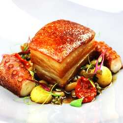 Pork belly & octopus with confited beans and ramson caviar